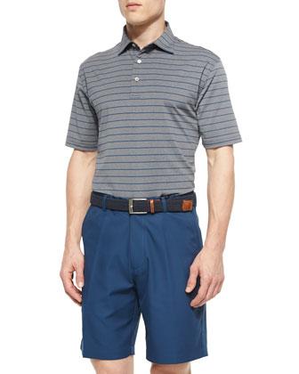 Striped Short-Sleeve Polo Shirt, Gray/Blue
