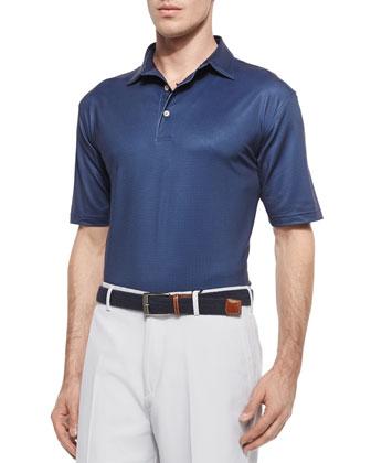 Pindot Short-Sleeve Polo Shirt, Navy