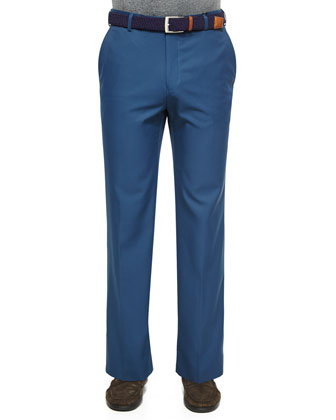 Durham High-Drape Performance Trousers, Navy