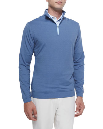 Perth Quarter-Zip Melange Sweater, navy