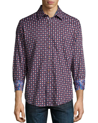 Macbeth-Print Long-Sleeve Sport Shirt, Black