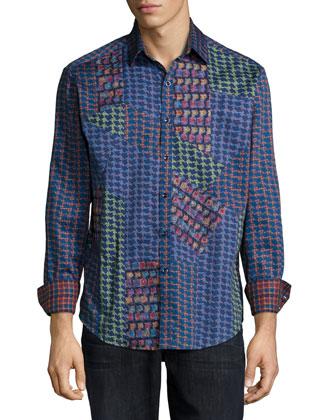 Glasgow Multi-Pattern Woven Sport Shirt, Blue