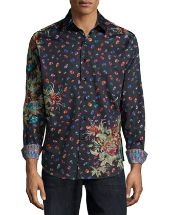 Skull & Floral-Print Woven Sport Shirt, Black