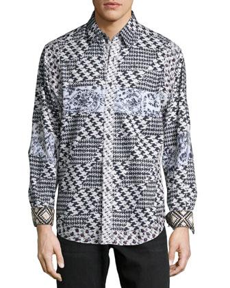 Multi-Printed Long-Sleeve Sport Shirt, Black