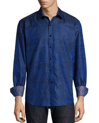 Printed Long-Sleeve Sport Shirt, Navy