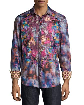 Printed Long-Sleeve Sport Shirt, Multicolor