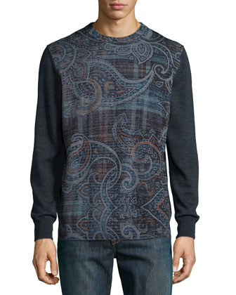 Langdon Paisley & Check-Print Sweater, Charcoal