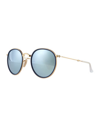 Round Metal Sunglasses, Gold/Blue