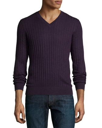 Superfine Cashmere Ribbed V-Neck Sweater, Dark Purple