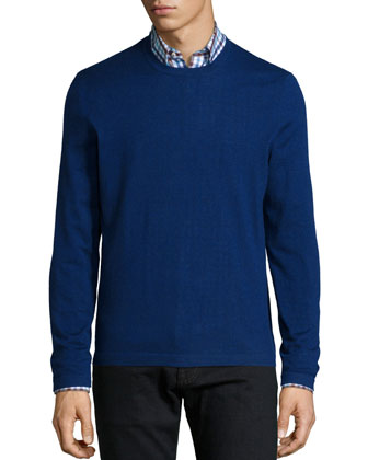Superfine Cashmere Crewneck Sweater, Dark Blue