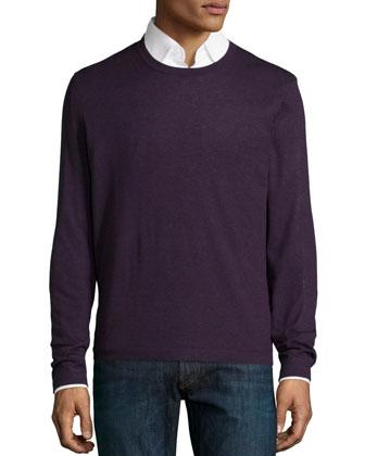Superfine Cashmere Crewneck Sweater, Dark Purple