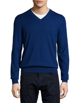 Cashmere V-Neck Sweater, Dark Blue