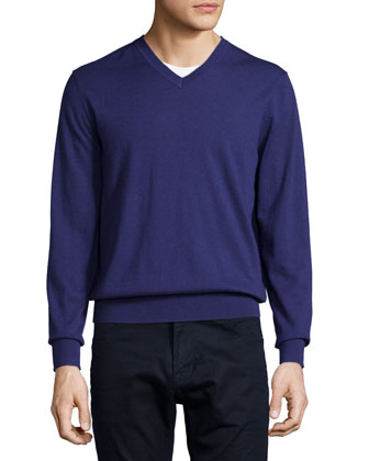 Cashmere V-Neck Sweater, Purple
