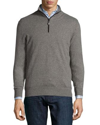 Nano-Cashmere 1/4-Zip Pullover, Taupe