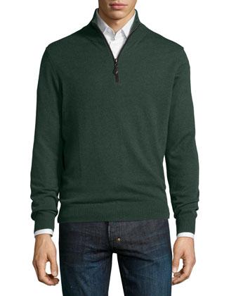 Nano-Cashmere 1/4-Zip Pullover, Green