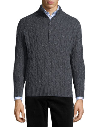 Donegal Wool Cable-Knit Sweater, Gray