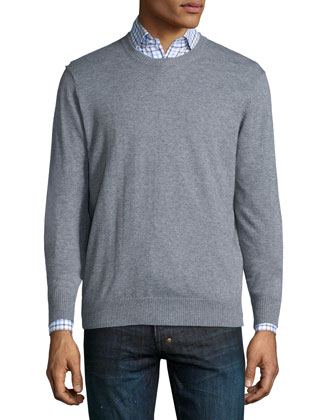 Cotton-Blend Crewneck Sweater, Medium Gray