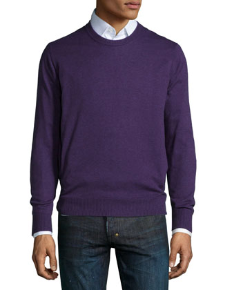 Cotton-Blend Crewneck Sweater, Purple