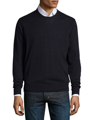 Cotton-Blend Crewneck Sweater, Black