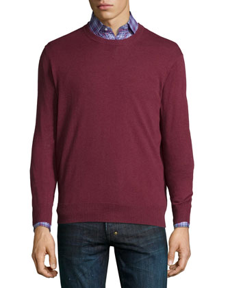 Cotton-Blend Crewneck Sweater, Dark Red