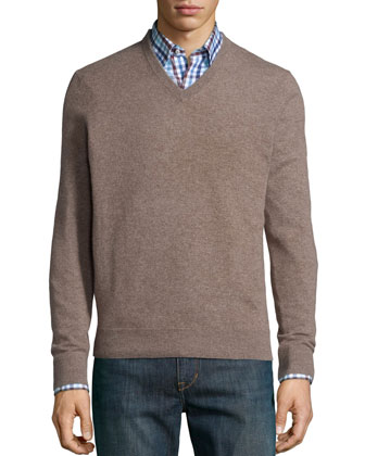 Cashmere V-Neck Sweater, Tan