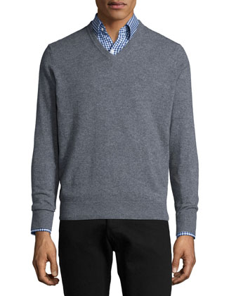 Cashmere V-Neck Sweater, Gray