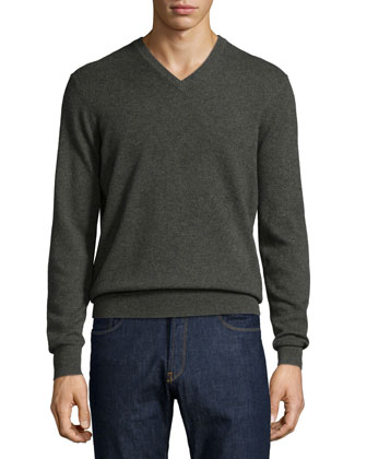 Cashmere V-Neck Sweater, Green