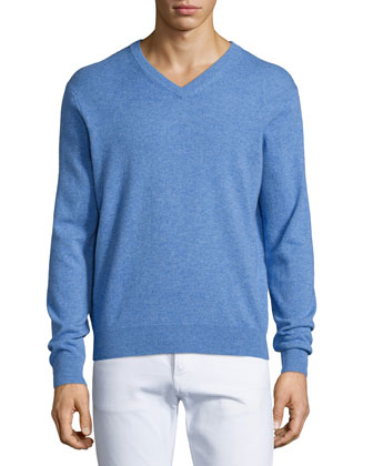Cashmere V-Neck Sweater, Medium Blue