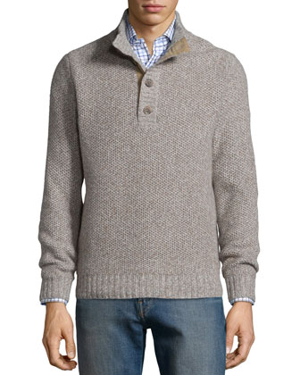 Textured Mock-Neck Cashmere Sweater, Gray