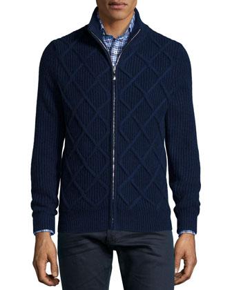 Cashmere Harlequin-Pattern Zip Cardigan, Navy
