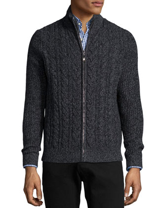 Marled Cable-Knit Cashmere Zip Cardigan, Black