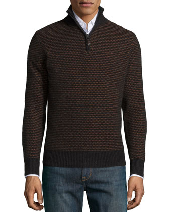 Textured Half-Zip Cashmere Sweater, Charcoal