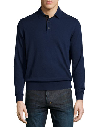 Suede-Placket Cashmere Polo, Navy