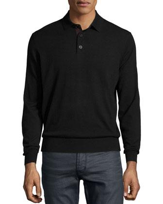 Suede-Placket Cashmere Polo, Black