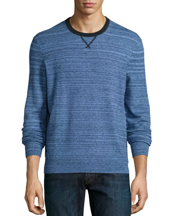 Space-Dye Cashmere Crewneck Sweater, Navy