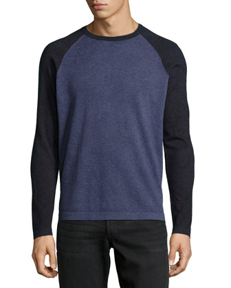 Feeder-Stripe Raglan Sweater, Purple