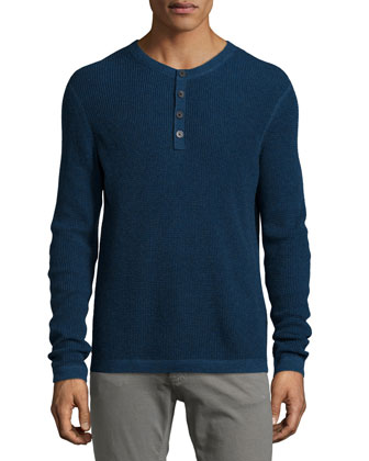 Waffle-Knit Long-Sleeve Henley Shirt, Blue