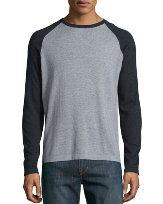 Feeder-Stripe Raglan Sweater, Gray
