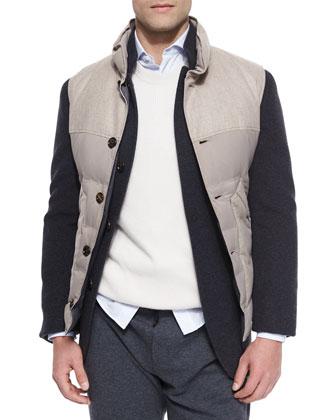 Bruno Three-Button Jacket, Mixed Media Button-Front Vest, Shaker-Stitch ...