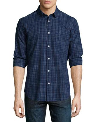 Plaid Long-Sleeve Woven Shirt, Indigo