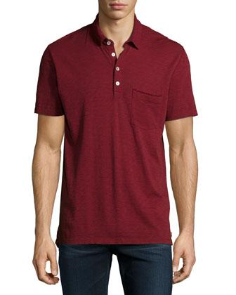 Raw-Edge Short-Sleeve Polo Shirt, Crimson