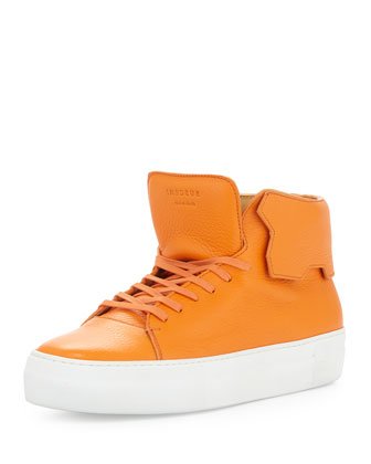 Leather High-Top Sneaker, Orange
