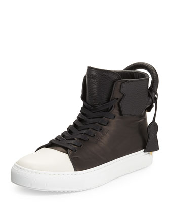 Leather High-Top Sneaker, Black/White