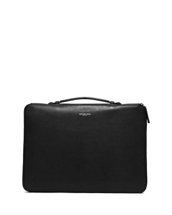 Dylan Soft Leather Briefcase, Black
