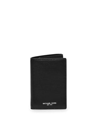 Dylan Milled Leather Billfold Wallet, Black