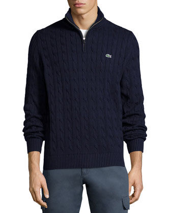Cable-Knit Half-Zip Knit Sweater, Navy