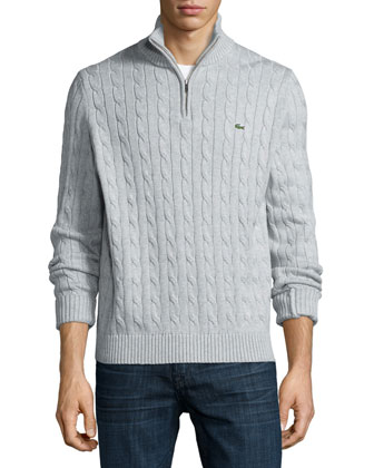 Cable-Knit Half-Zip Knit Sweater, Gray