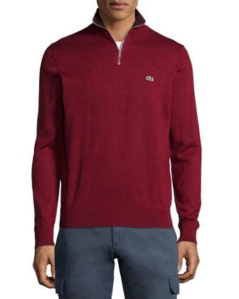Half-Zip Knit Pullover Sweater, Dark Red