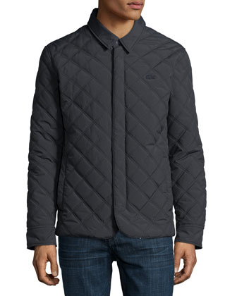 Quilted Button-Up Jacket, Charcoal