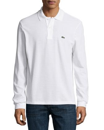 Long-Sleeve Classic Pique Polo, White